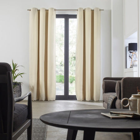 Blackout curtain with grommets Occultant beige