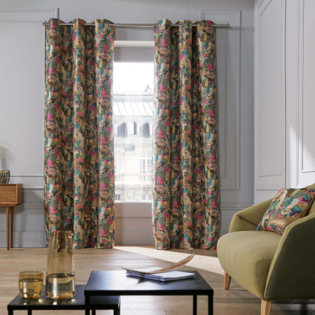 Curtain with grommets Jungle birds multicolor