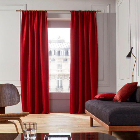 Gathered curtain Coconut red