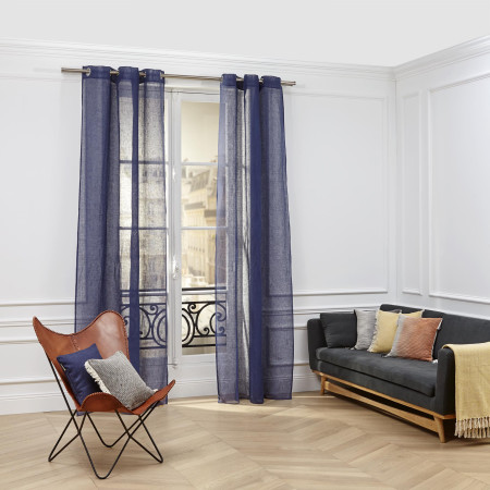 Sheer curtain with grommets Shadow blue