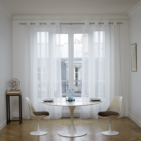 Sheer curtain with grommets Thasos white