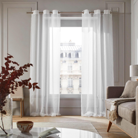 Sheer curtain with grommets Tramontane white