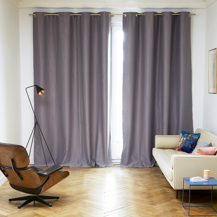Blackout curtain with grommets Night grey