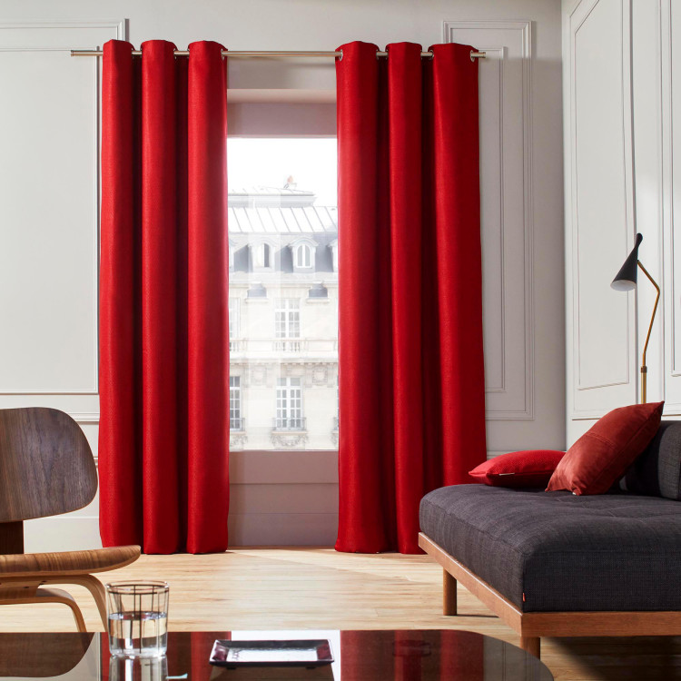 Curtain with grommets Coconut red