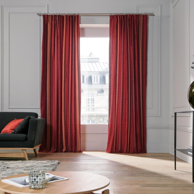 Gathered curtain Chenonceau red