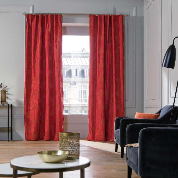 Gathered curtain Duomo red