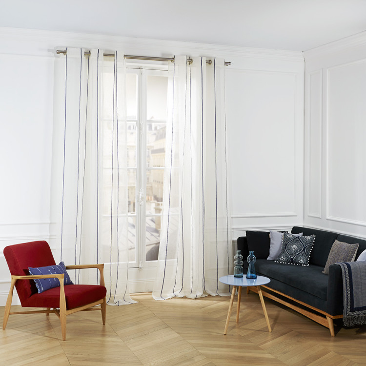Sheer curtain with grommets Heraklion white