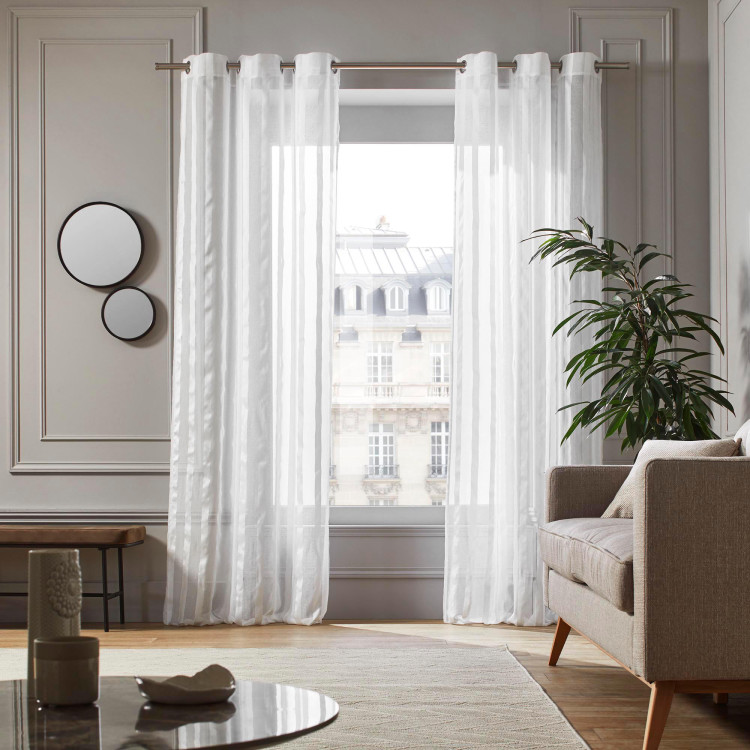 Sheer curtain with grommets Paros white