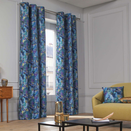Curtain Jungle birds blue