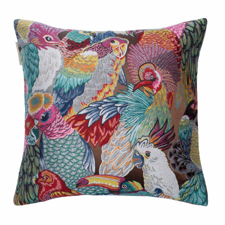 Pillow cover Jungle birds brown