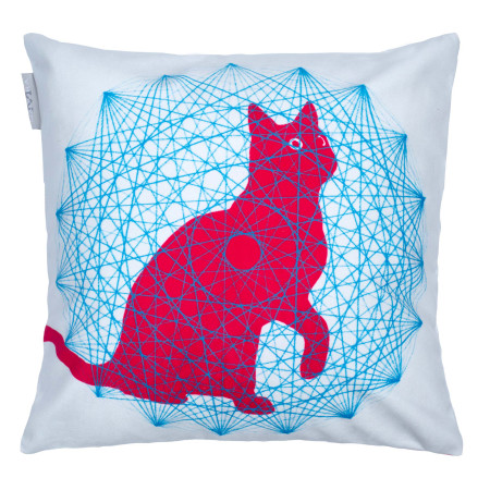 Pillow cover Trippy cat white